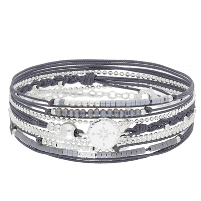BRACELET MULTI TOURS ROSE DES VENTS, GRIS