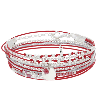 BRACELET MULTI TOURS ROUGE PASTILLE 8MM