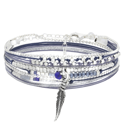 BRACELET LITTLE FEATHER BLEU FONCE GRIS