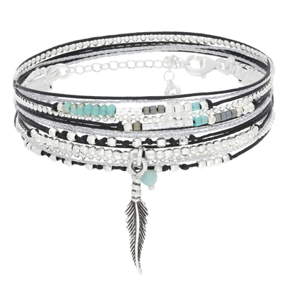 BRACELET LITTLE FEATHER NOIR VERT