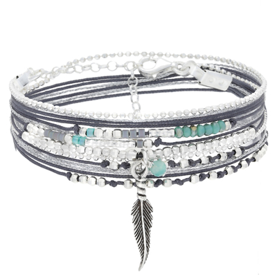 BRACELET LITTLE FEATHER GRIS VERT