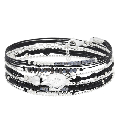 BRACELET MULTI-TOURS NOIR, ROSE DES VENTS
