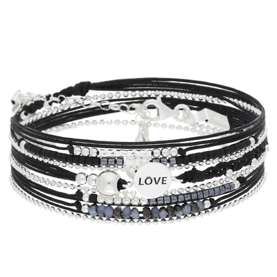 BRACELET MULTI TOURS LOVE NOIR