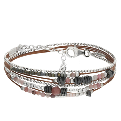 BRACELET MULTI TOURS CHOCO CLAIR- ROSE