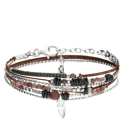 BRACELET MULTI TOURS PLUME CHOCO CLAIR- ROSE HEMATITE