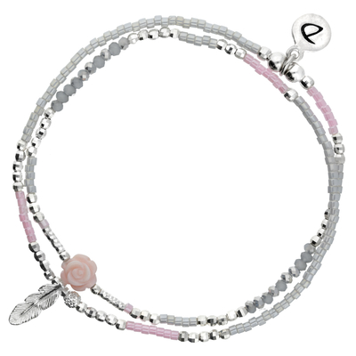 BRACELET ELASTIQUE FLOWER GRIS-ROSE