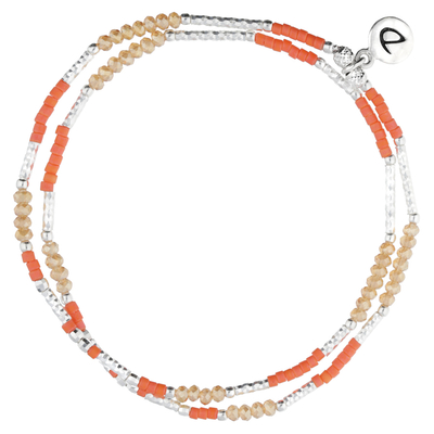 BRACELET ÉLASTIQUE ORANGE DOUBLE RANGS