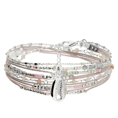 BRACELET DOUBLE TOURS GRIS ROSE CAURIS