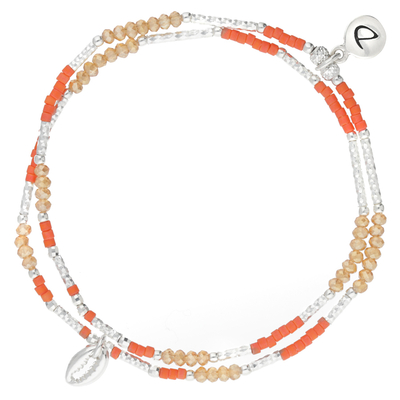 BRACELET ÉLASTIQUE SPRING CAURIS ORANGE CORAIL