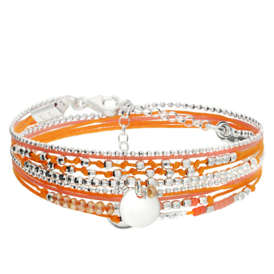 BRACELET MULTI TOURS ROSE-ORANGE PASTILLE 8MM