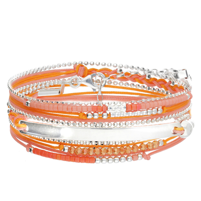 BRACELET MULTI-TOURS BARRE ORANGE ROSE