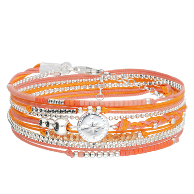 BRACELET MULTI TOURS ROSE DES VENTS ORANGE ET ROSE