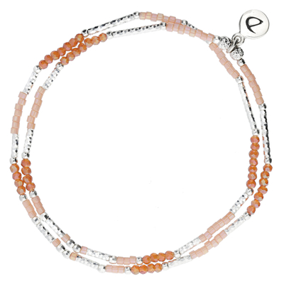 BRACELET ÉLASTIQUE ORANGE- ROSE CLAIR DOUBLE RANGS