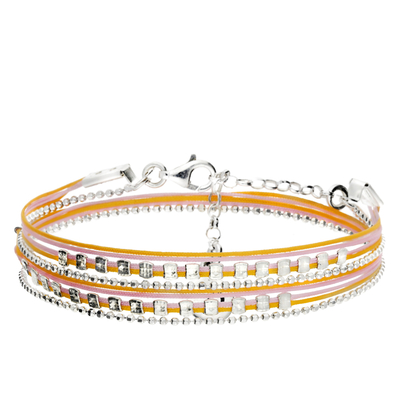 BRACELET MULTI TOURS ORANGE ET ROSE PERLES PLATES FACETTÉES