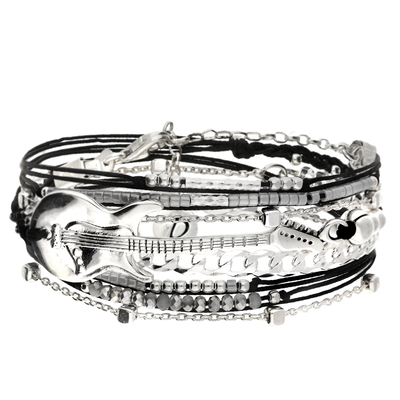 BRACELET TRIPLE TOURS NOIR GUITARE ROCK