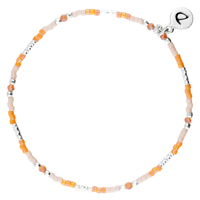 BRACELET ELASTIQUE SILVER ORANGE ROSE