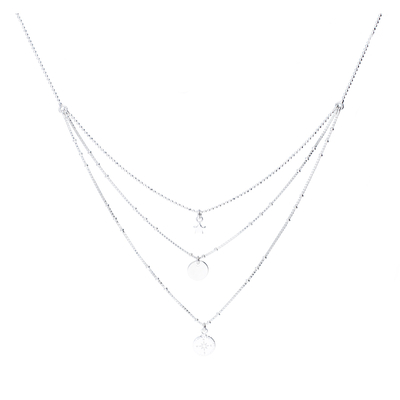COLLIER TRIPLE RANGS ROSE DES VENTS