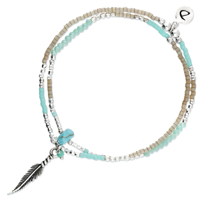 BRACELET SPRING FEATHER BEIGE TURQUOISE