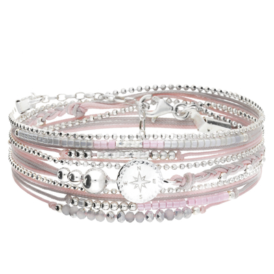 BRACELET ROSE DES VENTS MULTI-TOURS GRIS ROSE