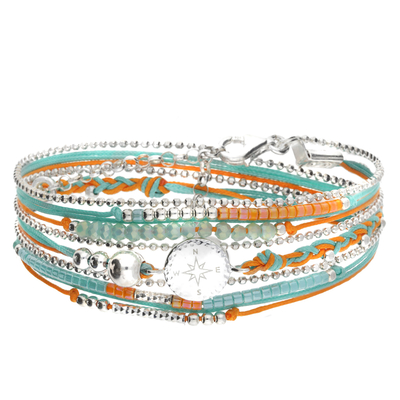 BRACELET MULTI TOURS ORANGE TURQUOISE ROSE DES VENTS