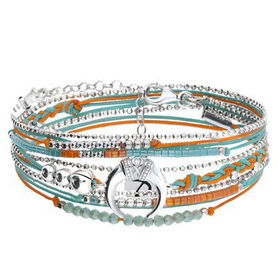 BRACELET MULTI TOURS ORANGE TURQUOISE CORNE ETHNIQUE