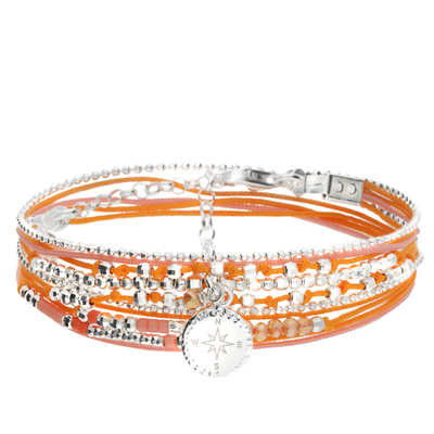 BRACELET DOUBLE TOURS ROSE DES VENTS ORANGE ROSE