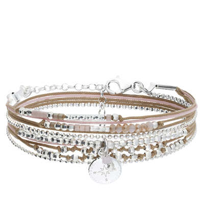 BRACELET DOUBLE TOURS ROSE DES VENTS BEIGE ROSE