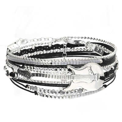 BRACELET TRIPLE TOURS NOIR GUITARE