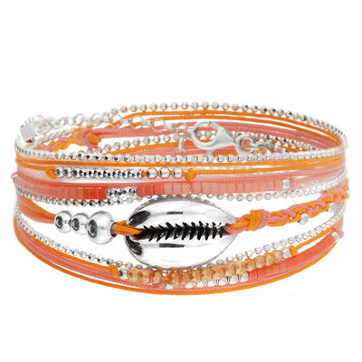 BRACELET CAURI ORANGE ROSE