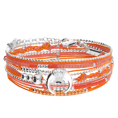 BRACELET MULTI TOURS ORANGE ROSE CORNE ETHNIQUE