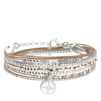 BRACELET DOUBLE TOURS ROSE DES VENTS BEIGE GRIS
