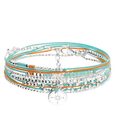 BRACELET DOUBLE TOURS ROSE DES VENTS ORANGE TURQUOISE