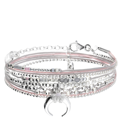 BRACELET DOUBLE TOURS CORNE ETHNIQUE GRIS ROSE