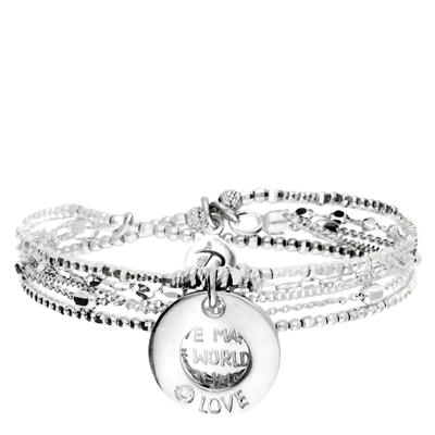 BRACELET ÉLASTIQUE LOVE MAKES THE WORLD GO ROUND DOUBLE ANNEAUX