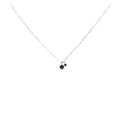 COLLIER DOUBLE PIERRES NOIRES
