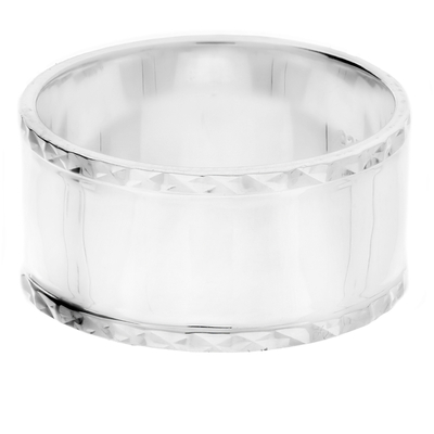 BAGUE LARGE EN ARGENT BORDS CISELES