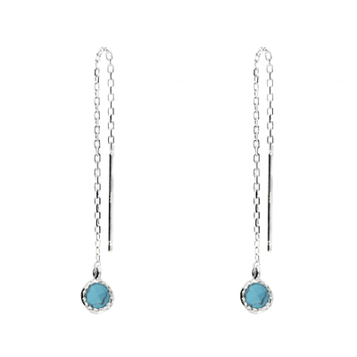BOUCLE CHAINE PETITE PIERRE RONDE COULEUR TURQUOISE