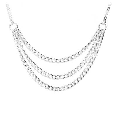 COLLIER TRIPLE CHAINES MAILLE ROCK