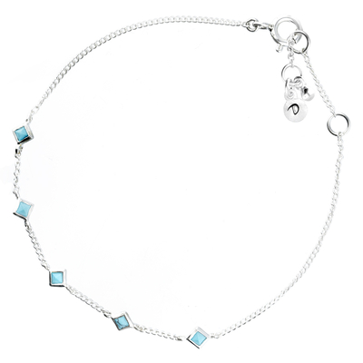 BRACELET CHAINE 5 CARRES TURQUOISE