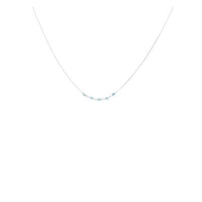 COLLIER CHAINE FINE 5 PERLES TURQUOISES 2MM
