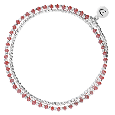 BRACELET HEAVEN ROUGE SILVER DOUBLE TOURS