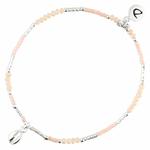 BR8626BCRCM - bracelet élastique coquillage perles beiges et argent