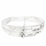 BR8270BLOP - bracelet multi-tours blanc pierre centrale blanche et pendentif indien ethnique