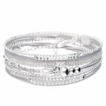 BR8266GGGC - bracelet gris multi-tours pendentif coquillage en argent 925