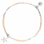 BR8638BCRCM - bracelet étoile élastique perles beiges et roses