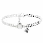 BR8414OP - bracelet gourmette en argent 925 pierre centrale en opaline blanche