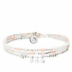 BR8636-3TOPRCM - bracelet triple tours perles blanches et roses, pendentif pierres martelées