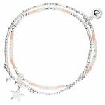 BR8650-2TOPRCM-bracelet élastiques 2 tours blanc et rose et pendentif grande étoile perles de verres blanches et pierres martelées