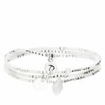 BR7618-3TOPBLM-bracelet élastique 3 tours blanc et argent avec perle en verre goutte et pastille