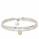BR8628CRIVM-bracelet élastique 3 tours beige et argent avec perle en verre goutte